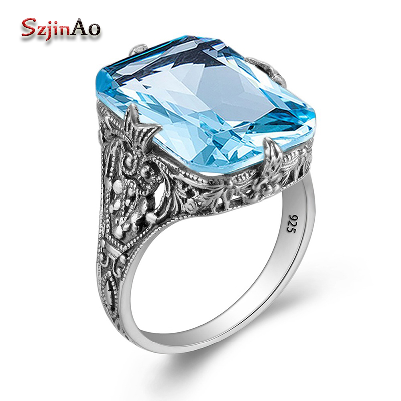 Szjinao Solid 925 Sterling Silver Wedding Engagement Ring Owl Pattern Punk Handmade Aquamarine Princess Cut Jewelry JH277