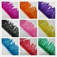 wholesale 10 Yards/lcolor Rooster feathers Tail Fringes 35 40cm Sewing on Rooster feather trimming/ribbon DIY wedding decoration