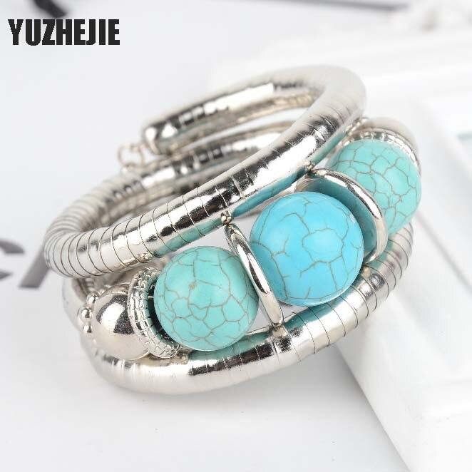 YUZHEJIE Multilayer Tibetan Silver Plated Charm cuff Bracelet Inlay Round Bead Adjust Bohemian Ethnic Bangle for Women Jewelry
