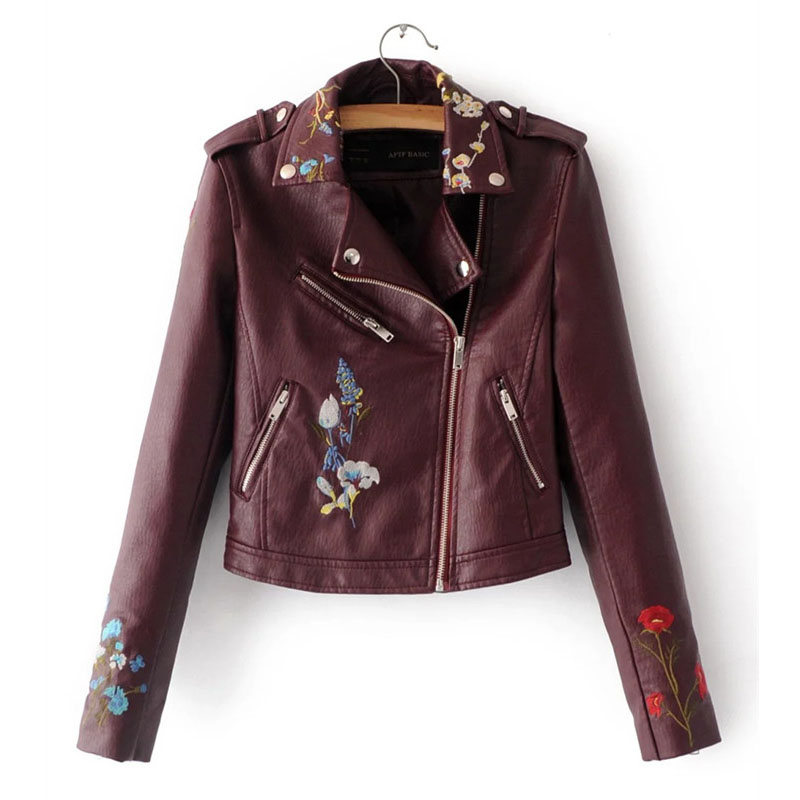 WSYORE Casual Streetwear PU Faux Leather Jacket Women 2018 New Autumn and Winter Embroidery Flower Motorcycle Jacket NS393