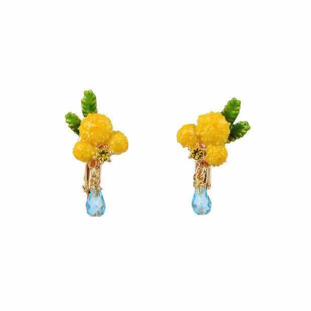 2019 Amybaby Original Enamel Glaze Designer Provence Fashion Mimosa Necklace Stud Earring Jewelry For Party