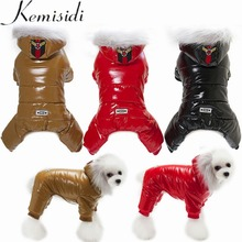 Купить с кэшбэком KEMISIDI Waterproof Dog Clothes Warm Hooded Thicked Cotton Pet Clothing Four Feet Warm Soft Dogs Coat Jackets For Bulldog Teddy