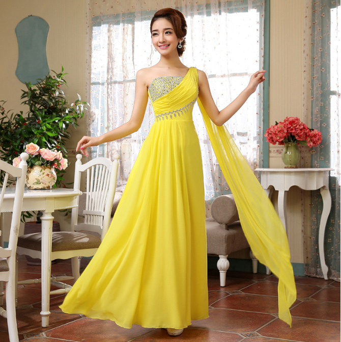 Popular Yellow Semi Formal Dresses-Buy Cheap Yellow Semi Formal ...