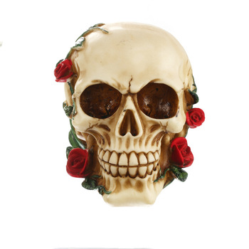 Resin Skull Ornament Bite Red Rose Statue Sculpture Home Decoration Valentine's Day Gift Office Decoration Gift