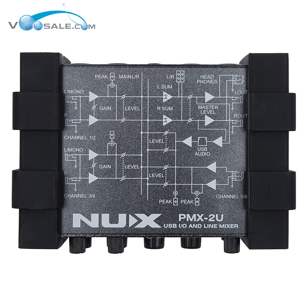 NUX PMX-2U Electric Guitar Bass USB Audio Interface I/O Line Mixer 6 Inputs & 2 Outputs line 6 pod studio ux 2 usb