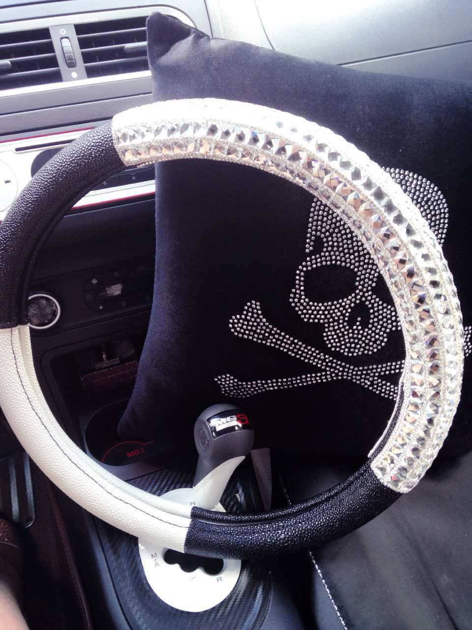 White Bling Rhinestone Luxury Real Leather Steering Wheel Cover Handcraft Crystal Handmade Gifts In Covers From