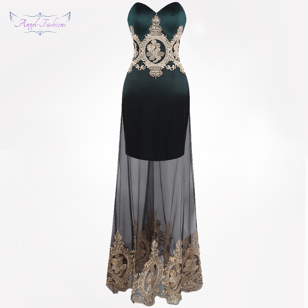 Angel-fashions Women's Embroidery   Evening     Dresses   Illusion Vintage Party Gown Dark Green 409