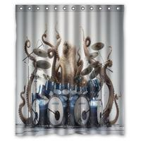 Octopus Play Drums Music Funny Custom Shower Curtain Bathroom Decor Fashion Design Free Shipping 36x72 48x72