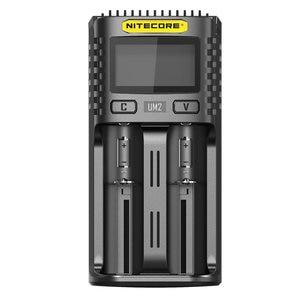 Image 2 - Nitecore UM2 USB ثنائي الفتحة شاحن QC الدوائر الذكية التأمين العالمي ليثيوم أيون AA 18650 14500 21700 شاحن بطارية