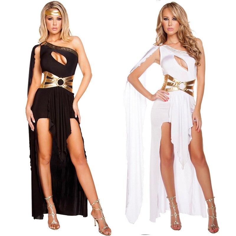 Sexy Greek Goddess Dress Black White Roma Princess Female Warrior Hen Party Fancy Dress