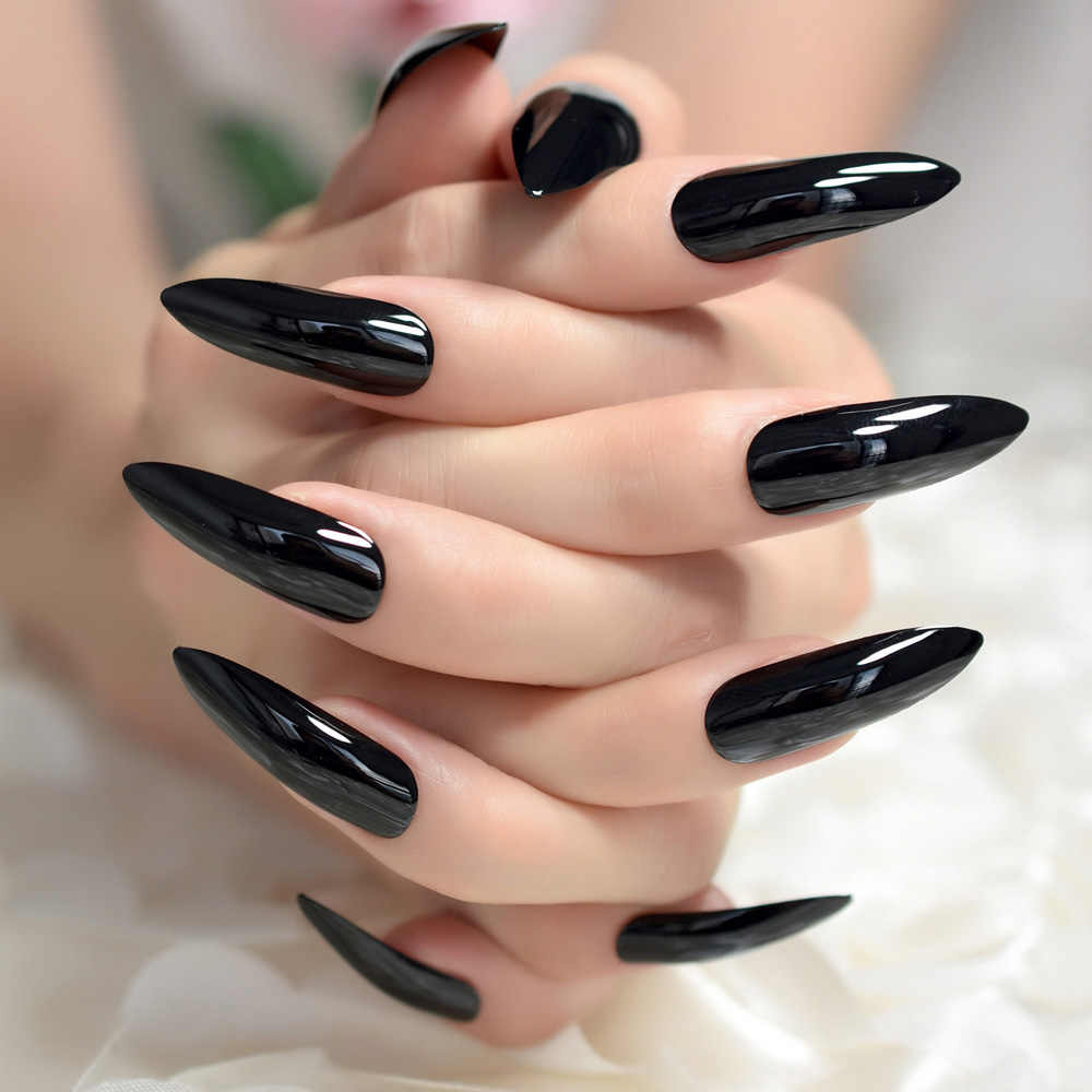 Black Extremely Long Stiletto Nails 24 Full Set of Nails ...