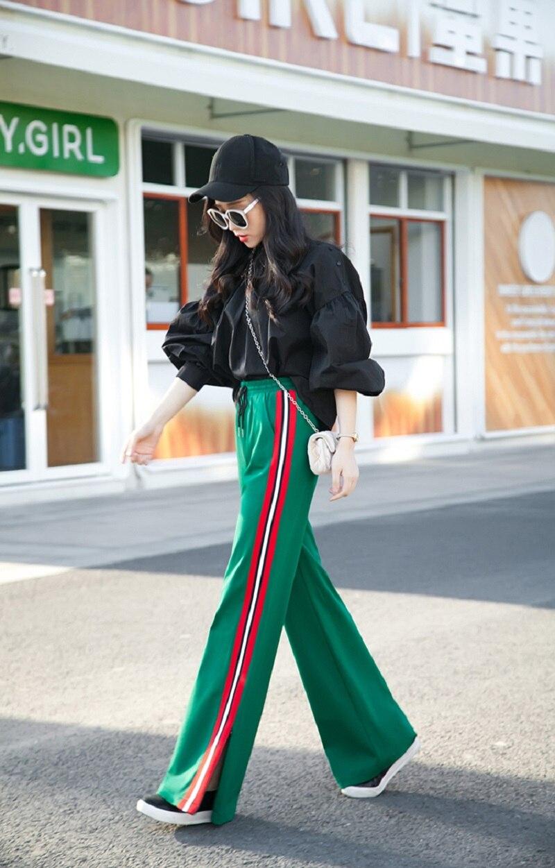 2018 осенне зимние модные дизайнерские штаны с высокой талией, в полоску, широкие штаны, однотонные, черные, белые, зеленые, размер XS 2XL, длинные брюки - 5