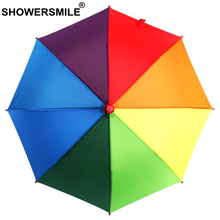 SHOWERSMILE Umbrella Kids Colorful New Rainbow Children Boys Girls Paraguas Kawaii Cute Long-Handle Rain Sun Parasol