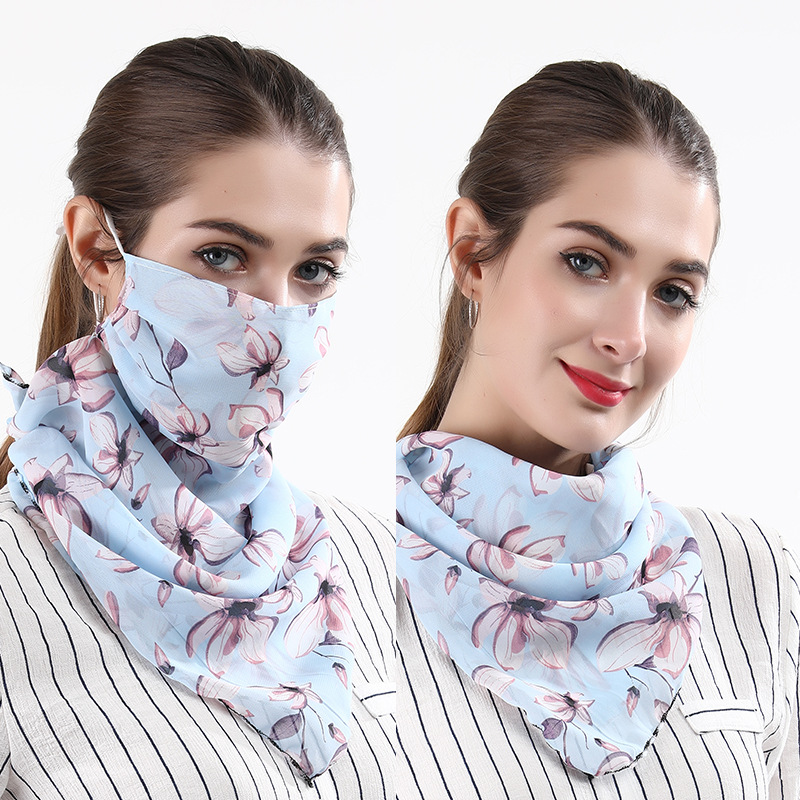 Women Cycling Face Mask Summer UV Protection Scarf Sun Protection Printed Mouth Cover Breathable Hiking Riding Neck Mask