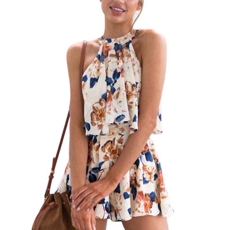 2018 Для женщин с цветочным принтом без рукавов с завязками за шеей и детские летние комплекты одежды с шортами без рукавов и шорты Комплект из двух предметов Мини-шорты широкая блузка Y3