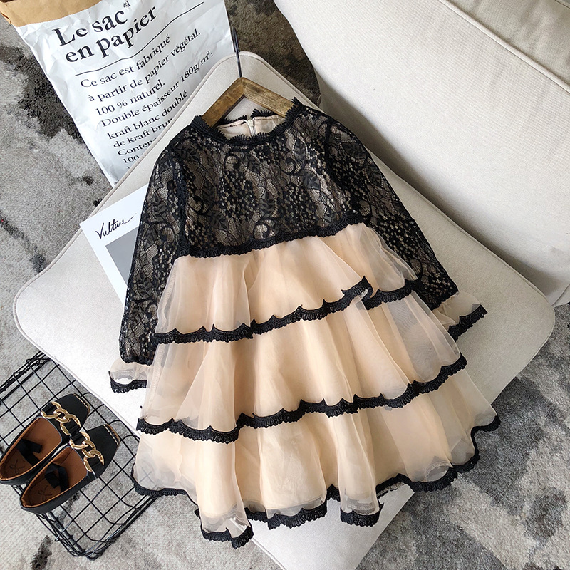 Girls princess dress long sleeve lace cake fashion new year dress 2018 new design kids girl knee-length dress for kdis children lace tea length long sleeve party dress