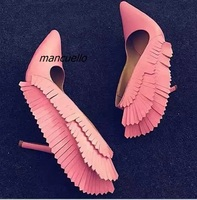 Unique Trendy Design Wing Stick Stiletto Heel Pumps Sweet Pink PU Leather Thin Heel Angel Shoes
