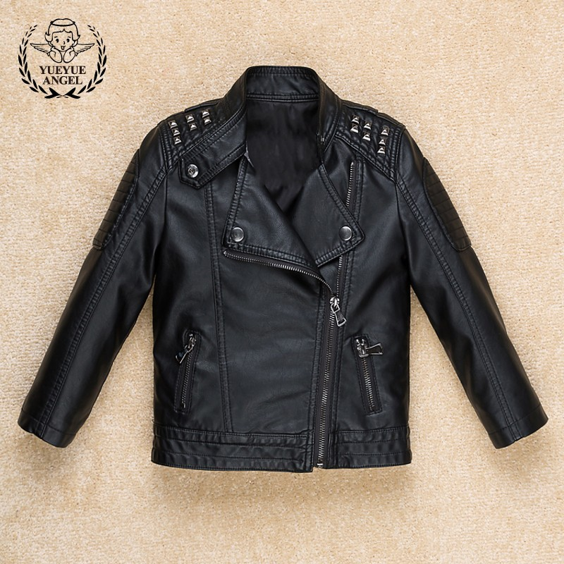 2018 New Boys Pu Leather Biker Jacket Rivet Punk Kids Girls Casual Outwear Windbreaker Coat Fashion Zipper Black Rock Jackets zipper fly chamois biker jacket