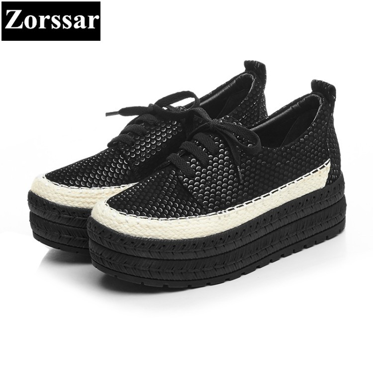 {Zorssar} 2017 New Fashion Genuine leather Women Flats Casual Creepers shoes Womens Platform loafers Slip On Flat Female shoes  qmn women genuine leather flats women horsehair loafers retro square toe slip on flat platform shoes woman creepers 34 42