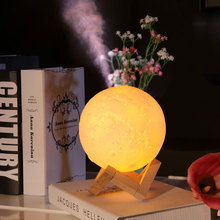 13cm 880ml USB 3DPrint Moon Lamp with humidifier diffuser big mist maker Rechargeable Touch Bedroom table Night Light bulb Decor