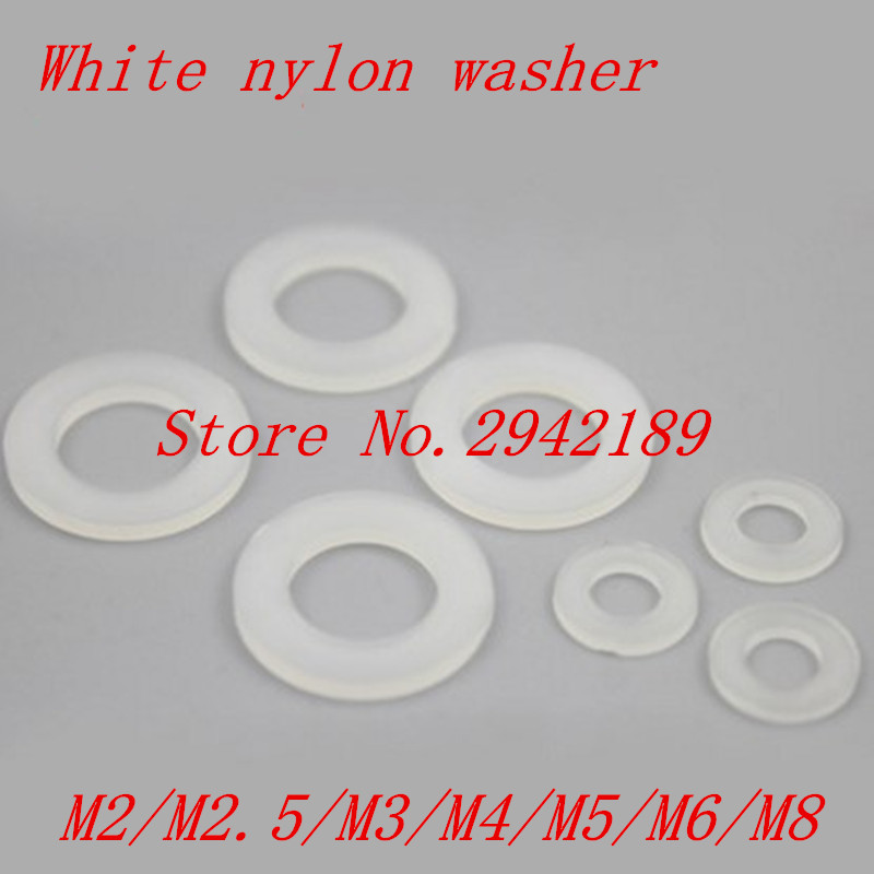 100pcs/lot M2 M2.5 M3 M4 M5 M6 M8 M10 White Plastic Nylon Washer Plated Flat Spacer Washer Gasket rc car spacer washer flat head gasket aluminum black 6 x3 5mm spacer washers top quality free shipping 10pcs lot