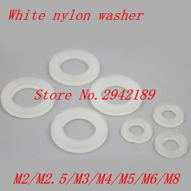 100pcs/lot  M2 M2.5 M3 M4 M5 M6 M8 M10 White Plastic Nylon Washer Plated Flat Spacer Washer Gasket