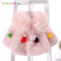 1 3Years Autumn Winter Kids Clothes Infant Jacket Fake Fur Baby Girls Coats Warm Cute Shawl