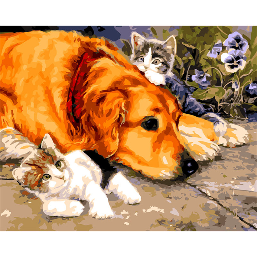 DIY Digital Painting By Numbers Package Yellow dog and cat oil painting mural Kits Coloring Wall Art Picture Gift frameless