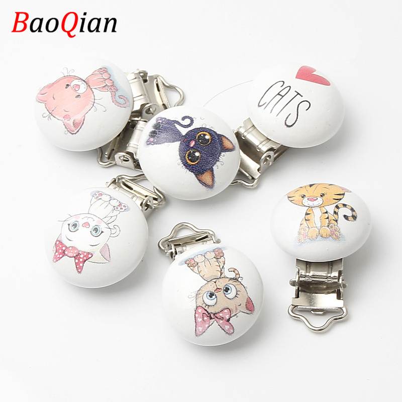 Children Natural Wooden Pacifier Holder Clip Round Infant Nipple Clasps For Baby