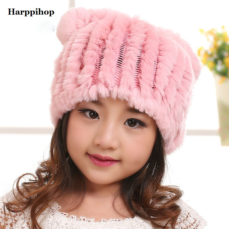 New arrival spring and winter for baby girl boy Child caps winter hat rex rabbit fur