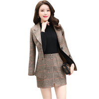 Houndstooth Plus Size Two Piece Set Woolen Tracksuit Women Wool Coat Top Plaid Sexy Skirts Shorts
