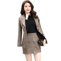 Houndstooth Plus size two piece set Woolen Tracksuit Women Wool Coat Top+ Plaid Sexy Skirts Shorts Cashmere Suit 2 piece set 530