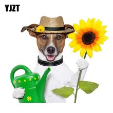 YJZT – autocollant de voiture en PVC, 16CM x 14.1CM, un chiot avec une bouilloire et un tournesol, 12-300176