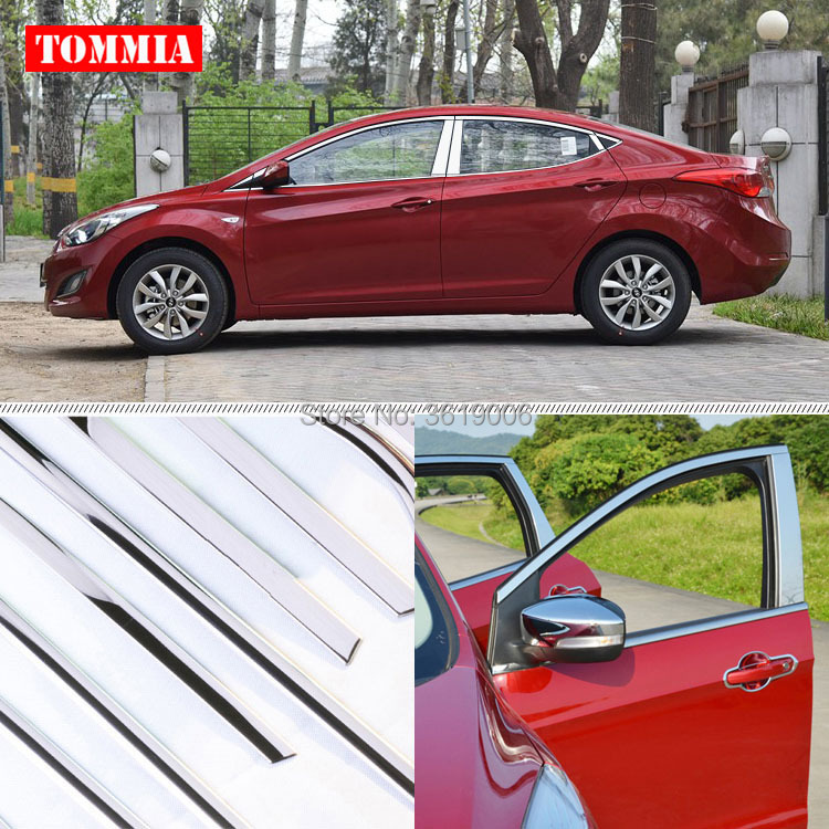 TOMMIA Full Window Middle Pillar Molding Sill Trim Chromium Styling Strips Stainless Steel For Hyundai Elantra 2012-2016