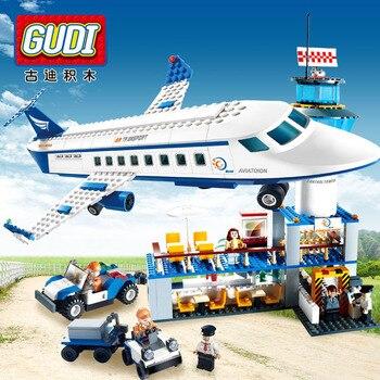 GUDI Modelli di Costruzione del giocattolo Compatibile con Lego G8912 652 pz Aeroporto Blocchi Giocattoli Modellismo Per Le Ragazze Dei Ragazzi Corredi di Costruzione di Modello