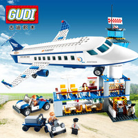 GUDI Models Building toy Compatible with Lego G8912 652PCS Airport Blocks Toys Hobbies For Boys Girls Model Building Kits