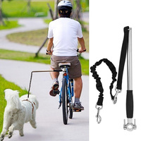 Behogar Retractable Hand Free Puppy Dog Bike Training Exerciser Pole Leash Handsfree Dog Leash Dog Collar Pet Animal Accessories