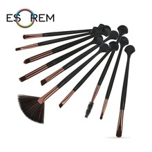 ESOREM 10 Pcs Professional Makeup Brush Set Black Handle Foundation Brushes Powder Angled Shading Pinceau Maquillage 5557