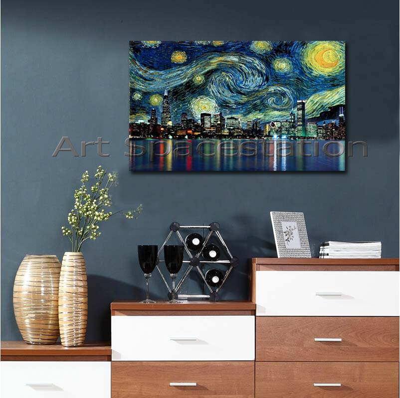 No Frame Usa Cityscape Painting Chicago Skyline Starry Night