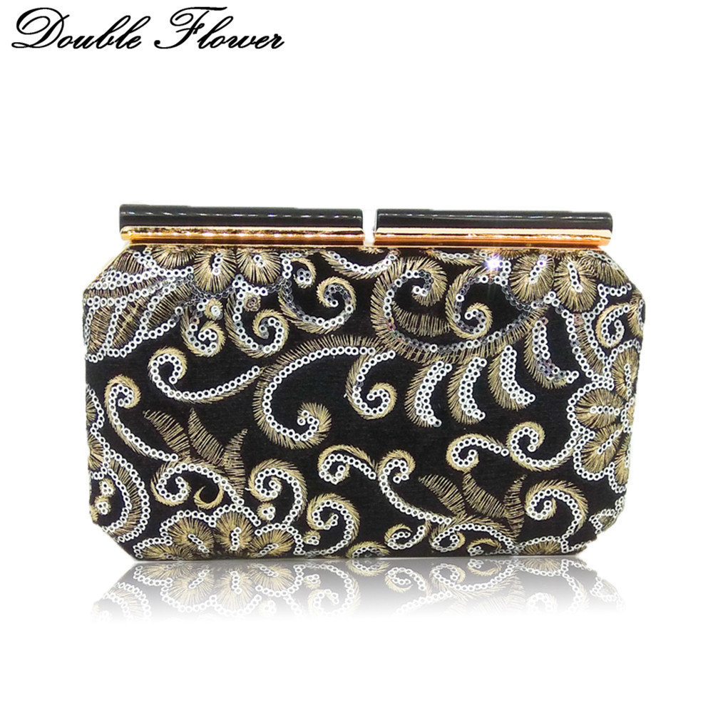 Double Flower National Style Sequined Women Evening Purse Wedding Party Handbag Clutch Bag