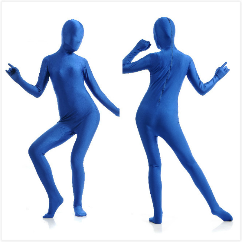 Follbody Blue Zentai Costumes  Clothes Skin Suit Catsuit  Full Body Spandex Cosplay Halloween Costumes Zentai  Adult Bodysuit