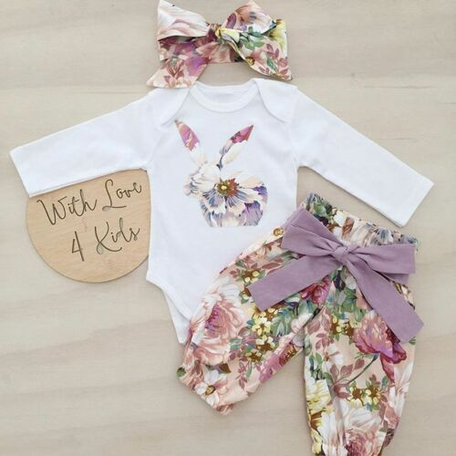 Newborn Baby Girls Floral Print Rabbit Bodysuit+Floral Print Pants 2pcs Outfits Set