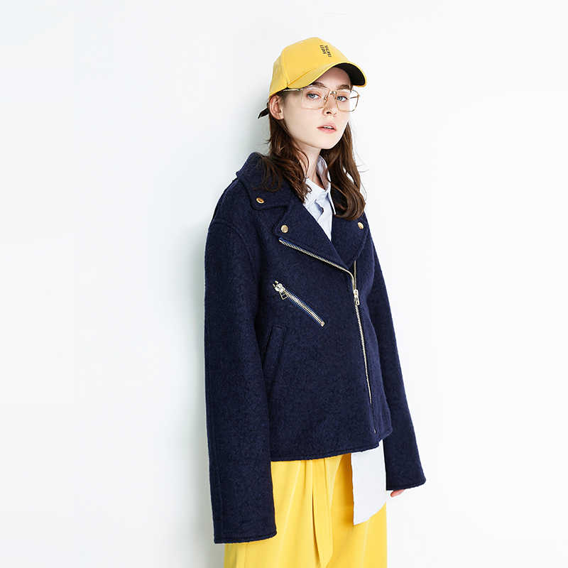 Toyouth 2019 New Arrival Autumn Women Solid Color  Oversize Medium cocoon Long wollen Coats