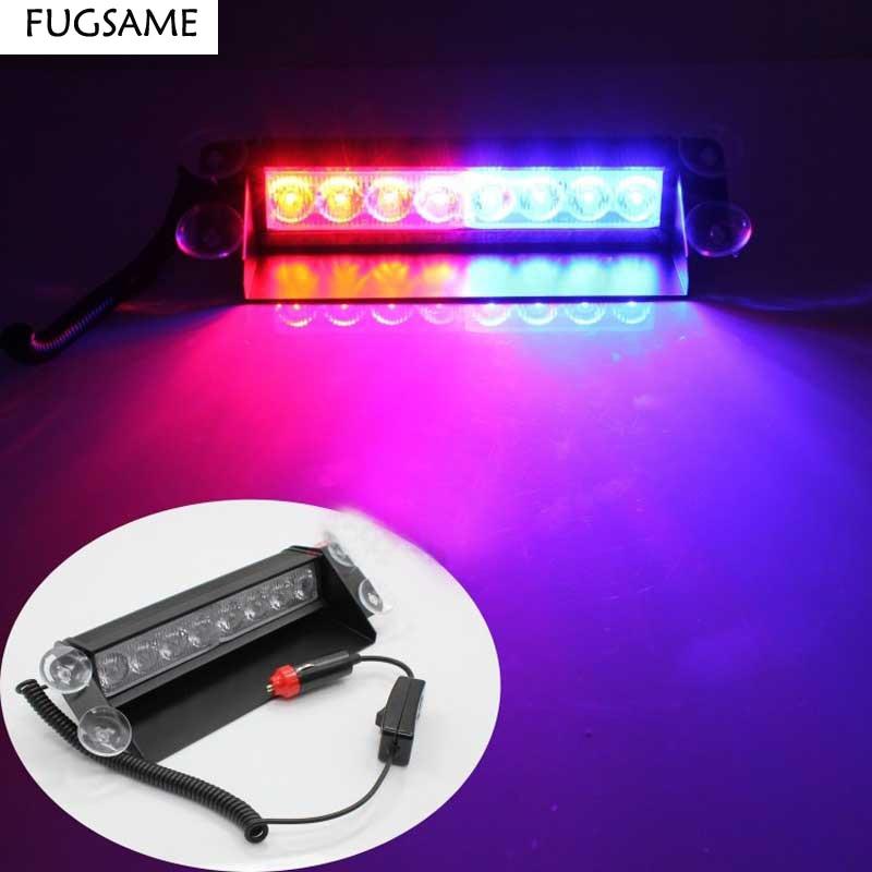 FUGSAME Car 8 LED Strobe välguga hoiatav EMS politsei tuli vilgub - Autotuled