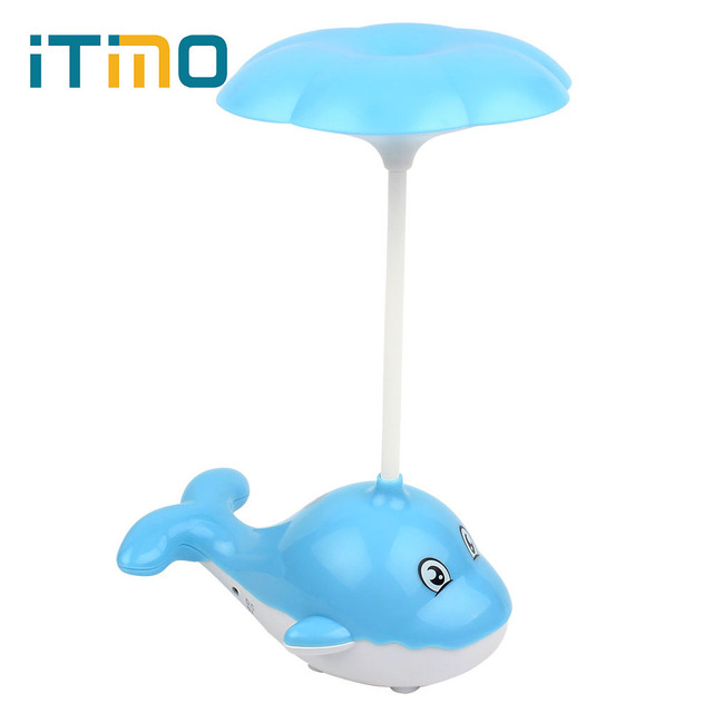 iTimo Flexible Dimmable Rechargeable Cute Whale LED Desk Lamp Eye-protecton Portable Touch Control Freely Bending