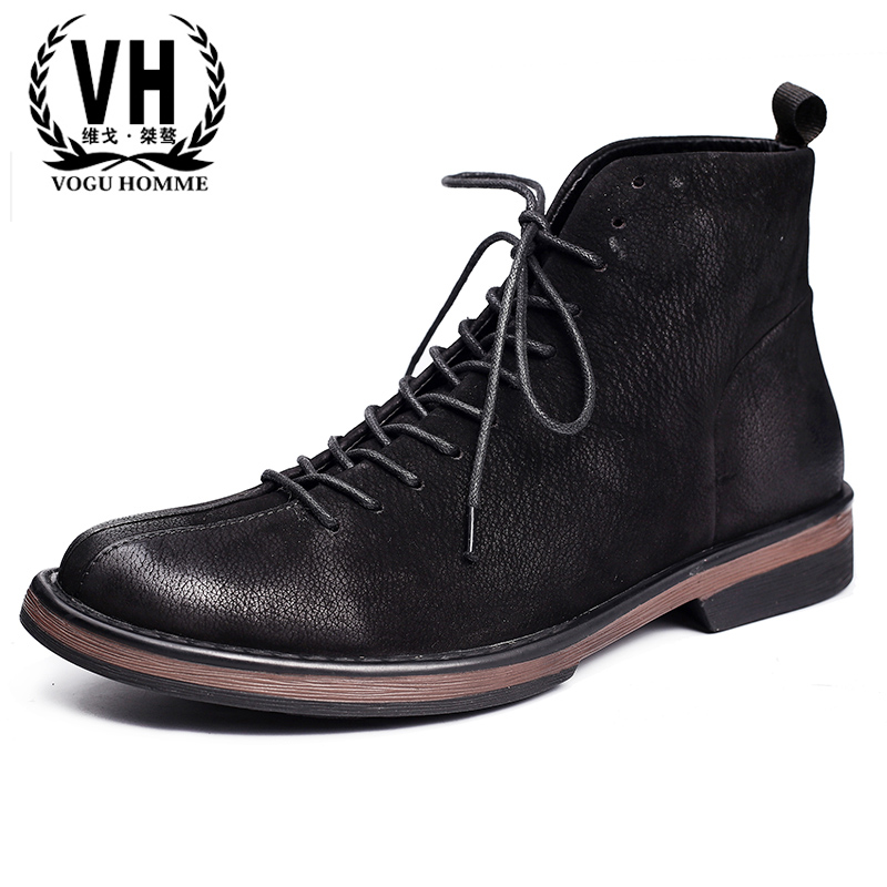 men leather frock boots, men's short boots, British Wind men casual high shoes, young tide, Martin boots, short boots woman the fall of 2017 a new restoring ancient ways british wind thick boots bottom students with martin boots