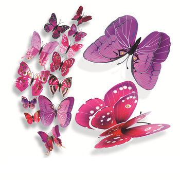 12pcs/set Multicolor Double Layer 3D Butterfly Wall Sticker Magnet PVC Butterflies Party Kids Bedroom Fridge Decoration 10 color 1