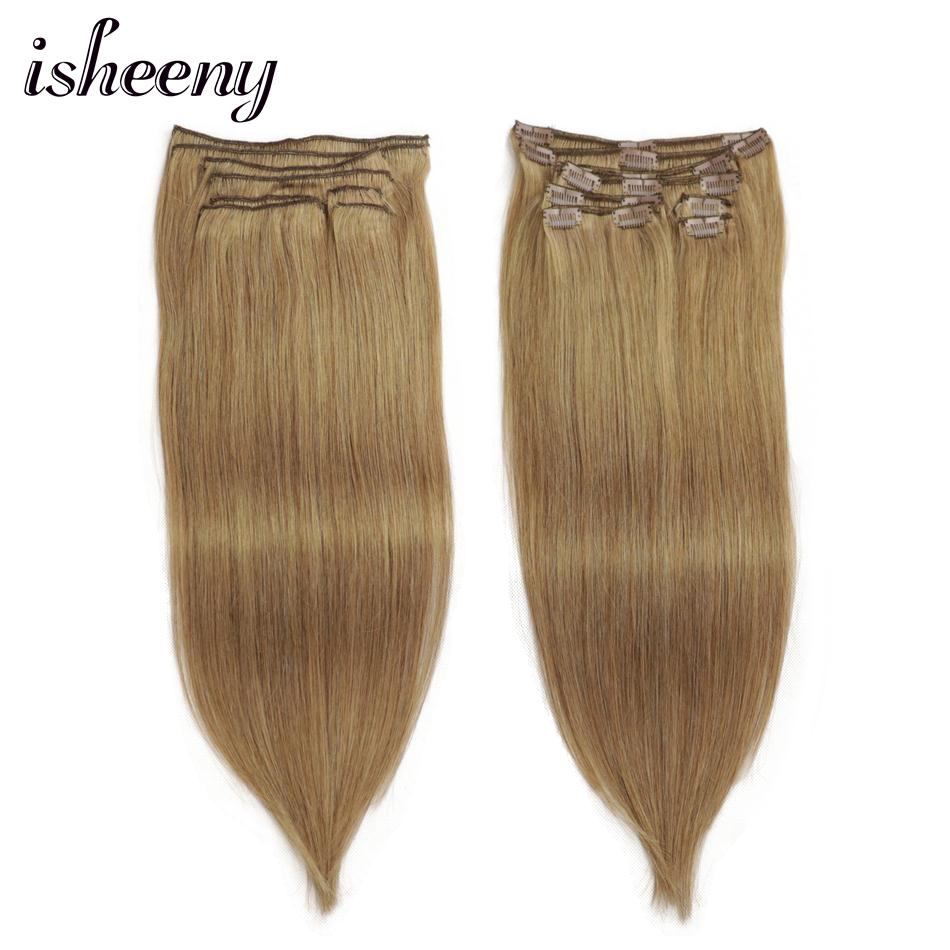 Isheeny Remy Clip Hair Extension 8pcs/set Seamless Natural Human Hair Clip Extensions Full Head Brazilian Pure Color Clip Ins(China)
