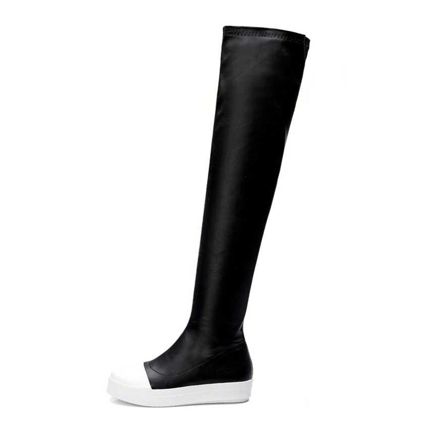 Plus Big Size 34-43 czarny wino-czerwony Stretch Fashion Sexy Over the Knee zakolanówki damskie damskie buty dziewczęce X1223