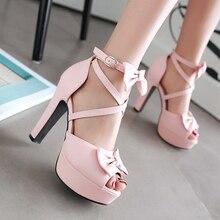 Femmes Doux Arc Poissons Bouche Princesse Sandales 2017 Nouveau Respirant Étanche à talons hauts Sandales Mode Sexy Chaussures Plus La Taille